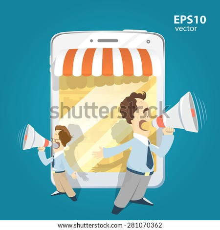 Two man standing holding loudspeakers and shouting. Internet shop and website promotion illustration. - stock vector