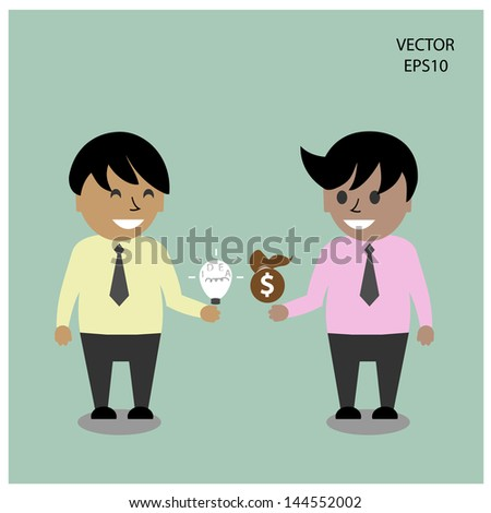 two man talking about business ,business ideas - stock vector
