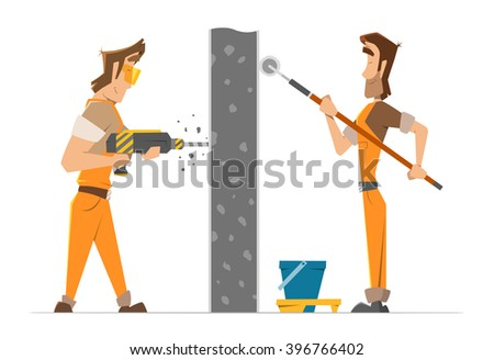 Two man worker drill and paint a wall. Home house repair service. Color vector illustration. - stock vector