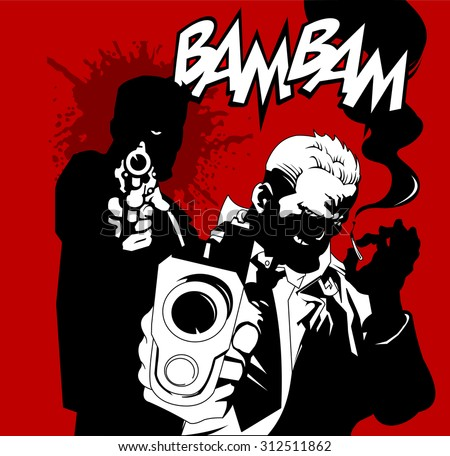 two mans in black suits with a weapon, vector, illustration