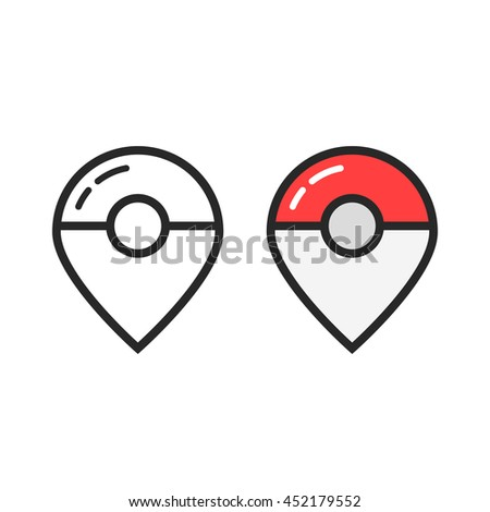 two map pin like pokeball. concept of gps navigation, retro mark, cute, find outside, entertainment application. flat style trend modern logotype design element vector illustration on white background - stock vector
