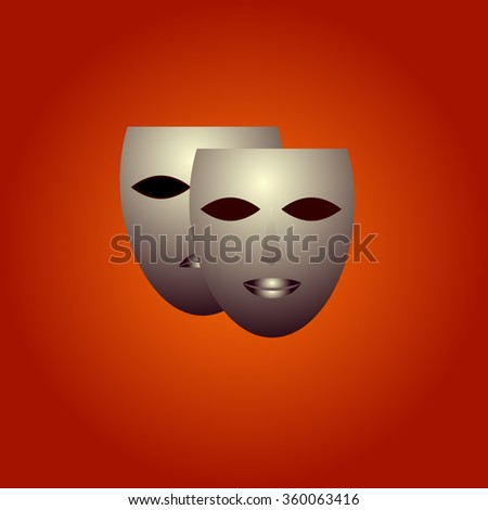 two masks on a red background