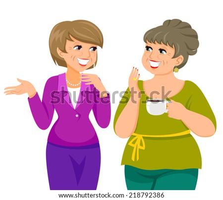 Two Women Talking Cartoon - Royalty Free - GoGraph