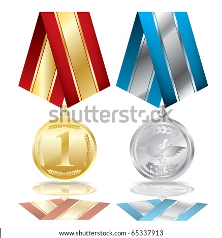 Two medals on a isolated background,vector - stock vector