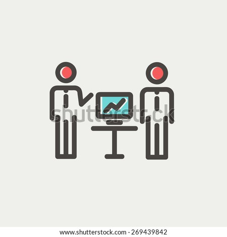 Two men and their business report thin line for web and mobile, modern minimalistic flat design. Vector icon with dark grey outline and offset colour on light grey background. - stock vector