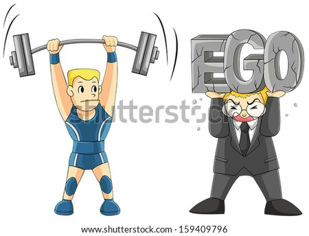 Two men are lifting some weight, one is a weightlifting but another office or businessman or boss manager is carrying his EGO. (cartoon vector) - stock vector