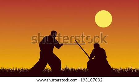 Two men are occupied with aikido against the yellow sky - stock vector