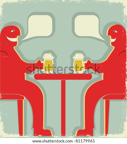 Two men are sitting with glasses of beer who toast.Vector vintage poster