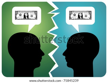 Two men arguing about money. Vector available - stock vector