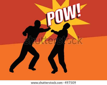 Two men fighting. One punching the other - vector format - stock vector