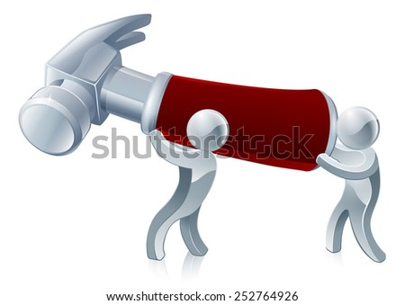Two men holding a hammer ready to build or repair something - stock vector