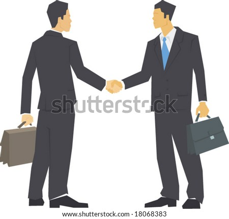 Two men in suits shaking hands, carrying leather briefcases