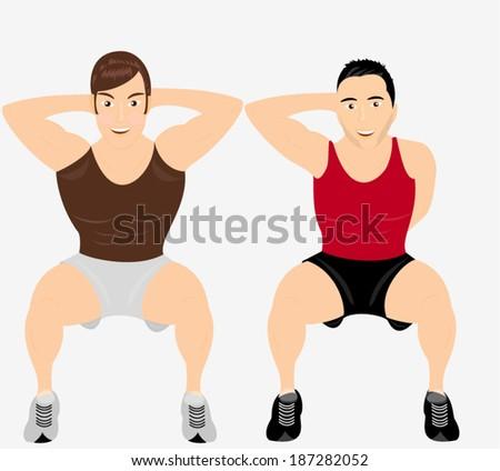 Two men practicing squats - stock vector