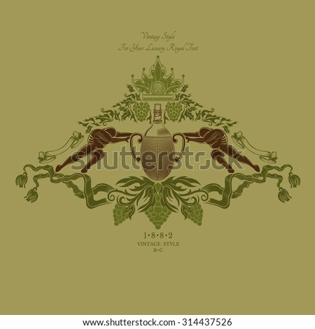 two men push bottle of wine in center of grapes pattern. winemaker label - stock vector