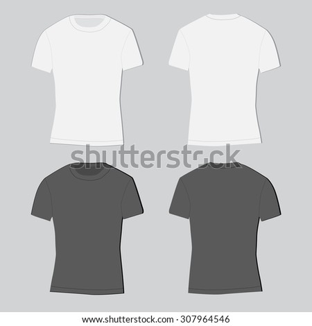 Two men's t-shirts black and white, front, back for your design