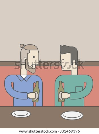 Two men sitting in the bar drinking beer with empty plates on the table. Vector line design illustration. Vertical layout with a text space for a social media post. - stock vector