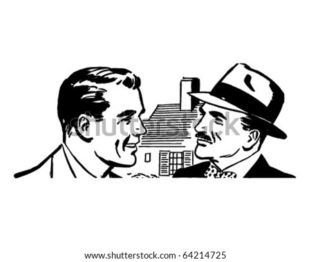 Two Men Talking - Retro Clipart Illustration