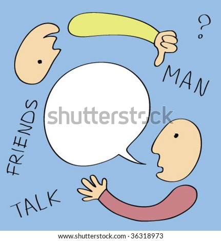 Two men talking with a word bubble. - stock vector