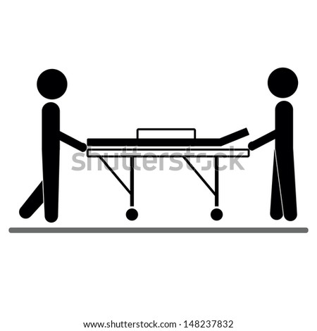 two men wheeling a stretcher. Nurses with a vacant table, white background.