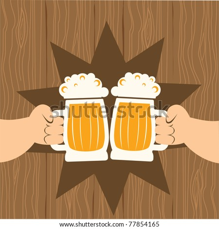 Two men with glasses of beer who toast.Vector poster - stock vector