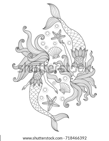 Two Mermaids Sea Hand Drawn Sketch