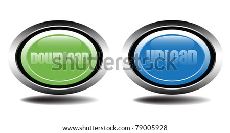 Two metallic buttons for download and upload suitable for websites - stock vector