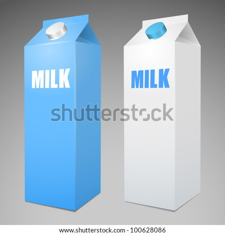 Two Milk Carton Packages Blank White and Blue - stock vector