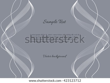 Two mirror running abstract waves. Abstract gray background with curved vertical white lines. Beautiful abstract background for text or labels - stock vector