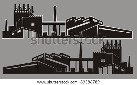 Two mirrored factory silhouettes on a gray background, one with a light gray outline - vector cartoon illustration set - stock vector