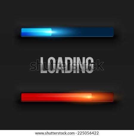 Two modern preloaders or progress loading bars. Vector illustration. - stock vector