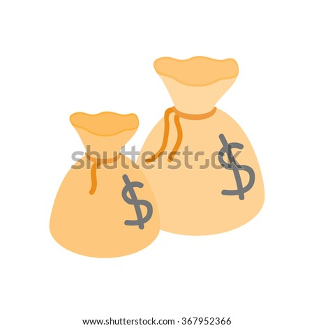 Two money bags with US dollar sign isometric 3d icon on a white background - stock vector