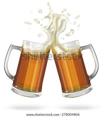 Two mugs with ale, light or dark beer. Mug with beer. Vector - stock vector