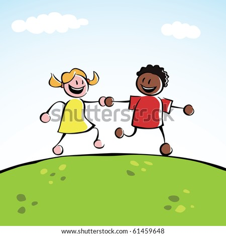 Two multi-ethnic kids holding hands - stock vector