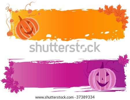 Two multicolored halloween banners with pumpkin