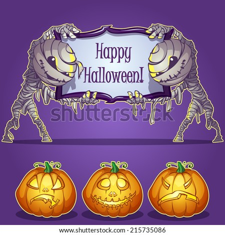 Two mummies hold Banner and set pumpkins for Halloween. Vector illustration on a dark background - stock vector