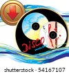 Two music disk. Sticker with button. Icon for design. Vector - stock photo