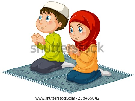 Two muslims praying on the carpet - stock vector