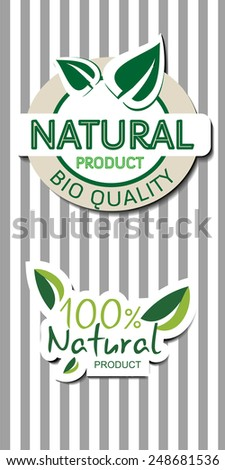 Two natural  bio quality product labels with shadow, striped background, vector illustration - stock vector