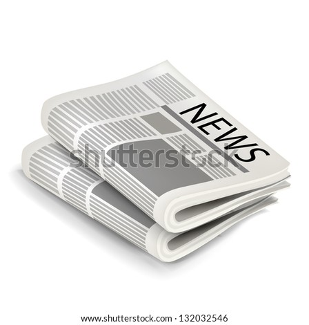 Two news papers isolated on white background
