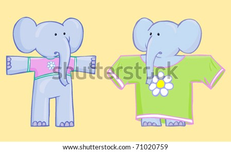 two nice bewildered elephant in clothes not to fit isolated on yellow background - stock vector