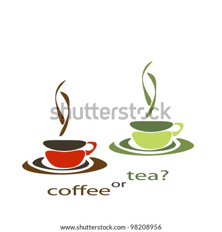 two nice simple cups for tea and coffee - stock vector