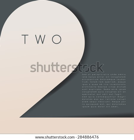 Two : Numeral Graphic in Overlapping Element : Vector Illustration - stock vector