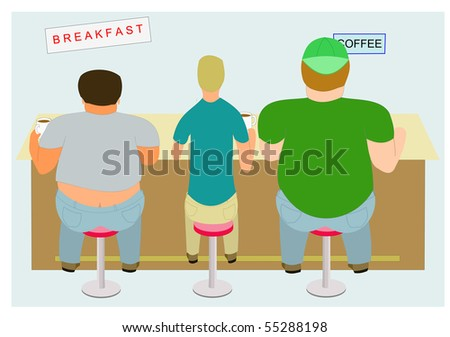 Two obese men and one slender man sitting at food counter, in blue, green and gray. - stock vector