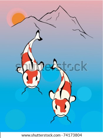 Two of koi at the foot of the mountain - stock vector