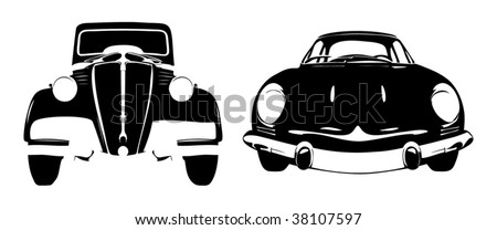 Two old timer car in black white design - stock vector