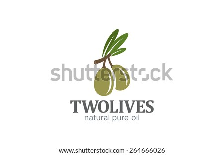 Two Olives Logo design vector template. Agriculture Farm Olive oil Logotype concept icon. - stock vector