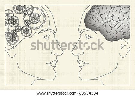 Two opposite profiles with brain and gears inside, EPS 8, CMYK. - stock vector