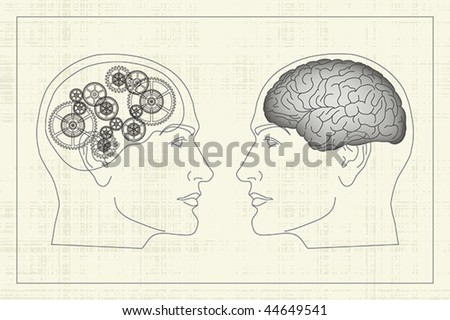 Two opposite profiles with brain and gears inside heads - stock vector