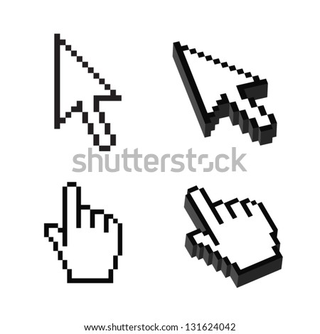 Two or Three dimensional Shape Cursor set - stock vector