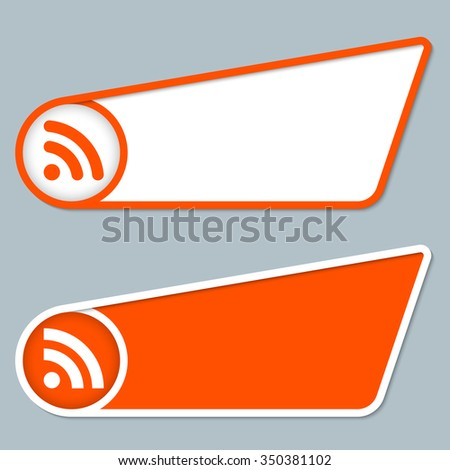 two orange boxes for any text with feed icon - stock vector